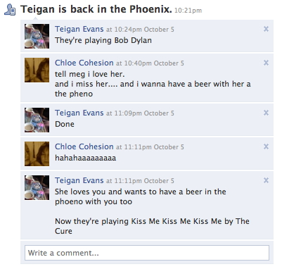 Teigan is back at the Phoenix. 10:21pm
